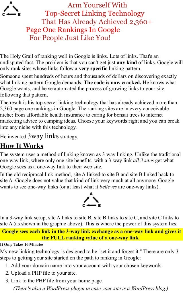 Arm Yourself With Top-Secret Linking Technology That Has Already Achieved 2,360+ Page One Rankings In Google For People Ju...