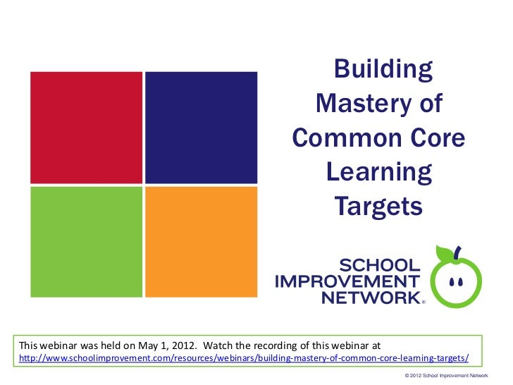 Building Mastery of Common Core Learning Targets