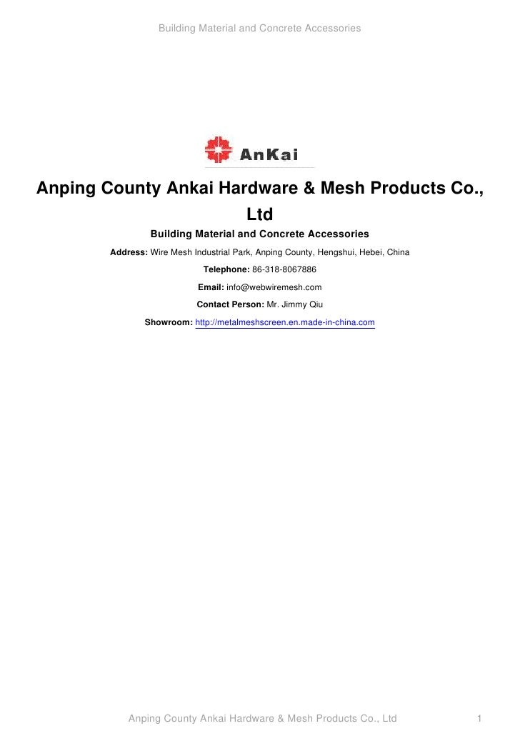 Building Material and Concrete Accessories     Anping County Ankai Hardware & Mesh Products Co.,                        Lt...