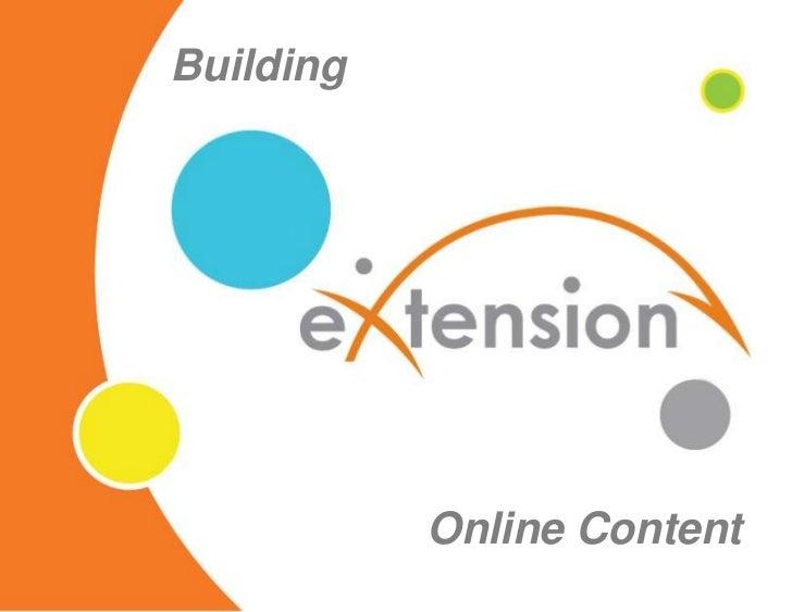 Building<br />Online Content<br />
