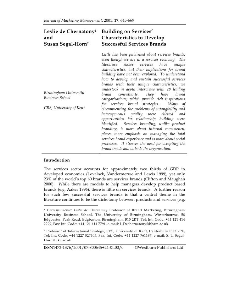 Journal of Marketing Management, 2001, 17, 645-669  Leslie de Chernatony1 Building on Services' and                   Char...