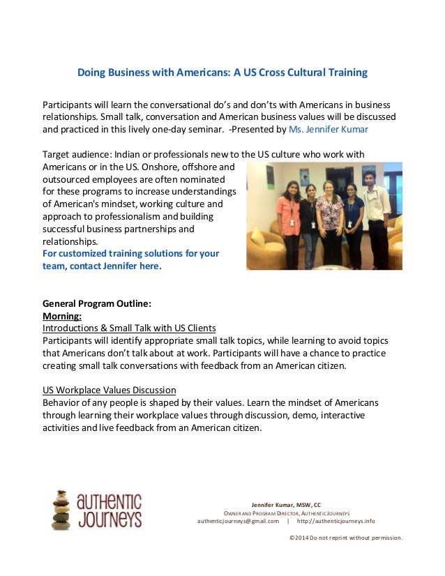 Doing Business with Americans: A US Cross Cultural Training