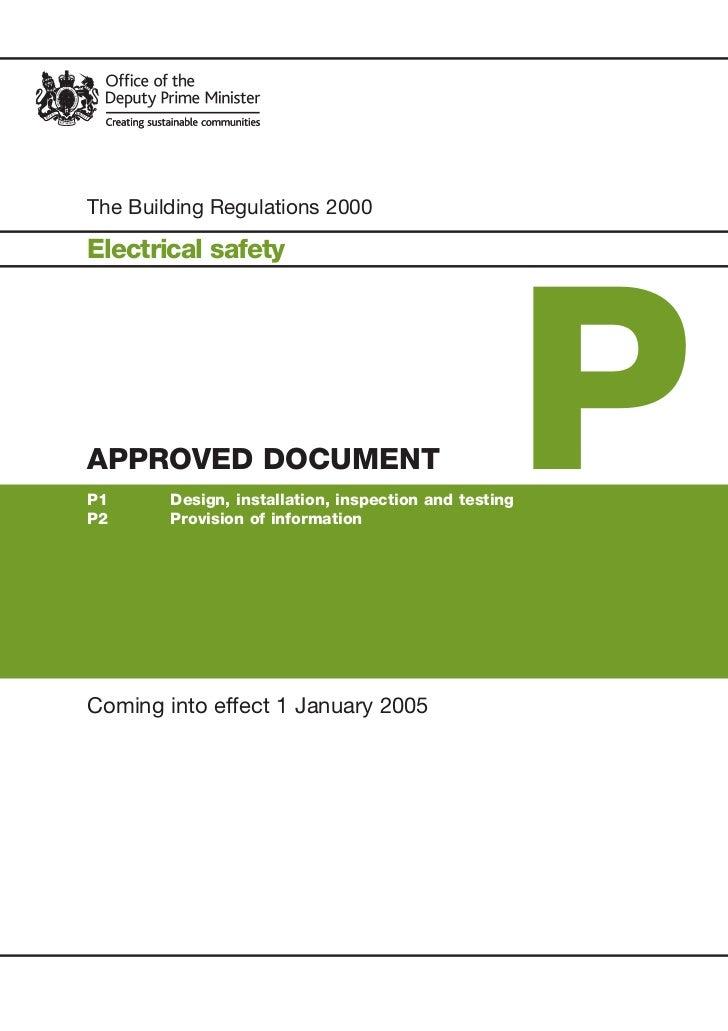 Building regulations electrical safety jan 2005