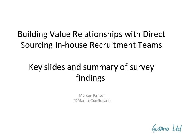 Building Value Relationships with Direct Sourcing In-house Recruitment Teams Key slides and summary of survey findings Mar...
