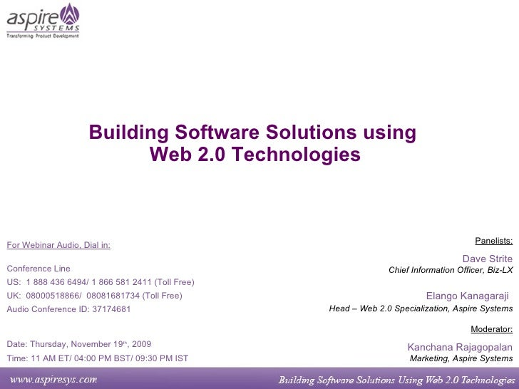 Building Software Solutions Using Web 2.0 Technologies