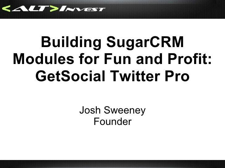 <ul><li>SugarCRM </li></ul><ul><li>Built using PHP  </li></ul><ul><li>Marketing, Sales, and Support </li></ul>Information