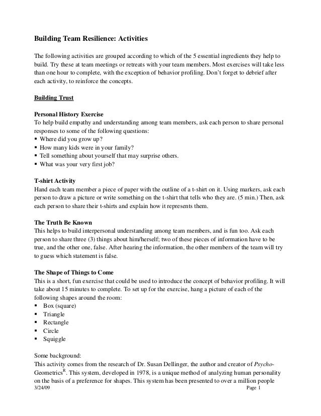 3/24/09 Page 1Building Team Resilience: ActivitiesThe following activities are grouped according to which of the 5 essenti...