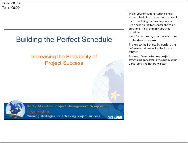 Building the perfect schedule (v5)(notes)