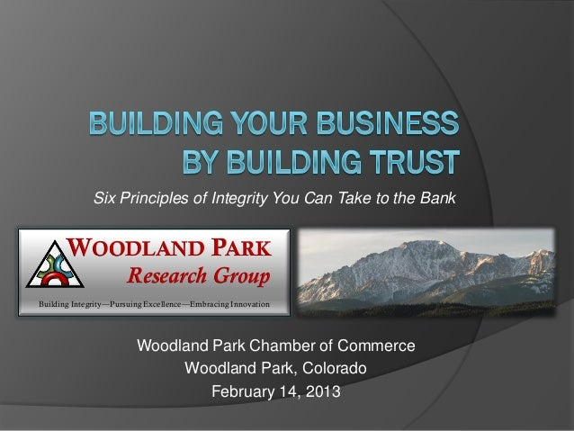 Six Principles of Integrity You Can Take to the Bank      WOODLAND PARK                      Research GroupBuilding Integr...