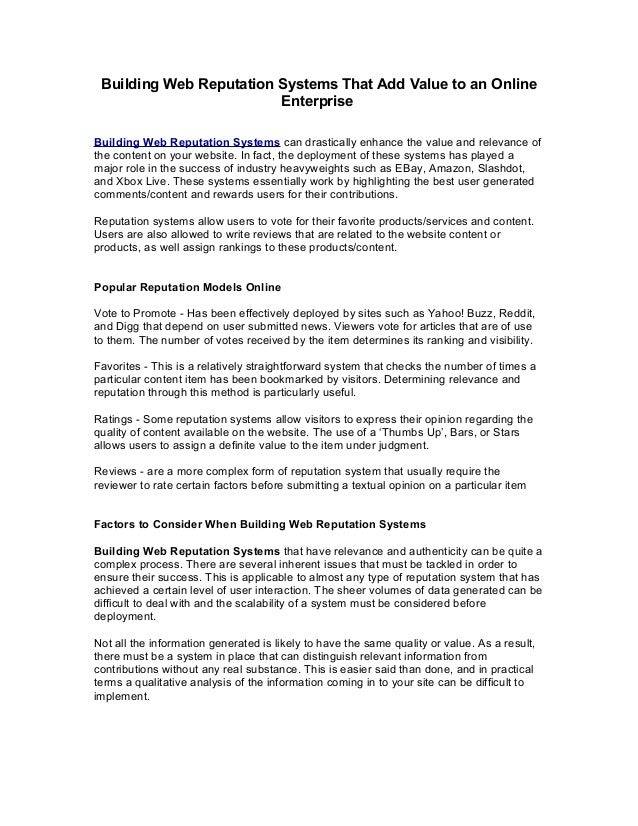 Building Web Reputation Systems That Add Value to an Online                         EnterpriseBuilding Web Reputation Syst...