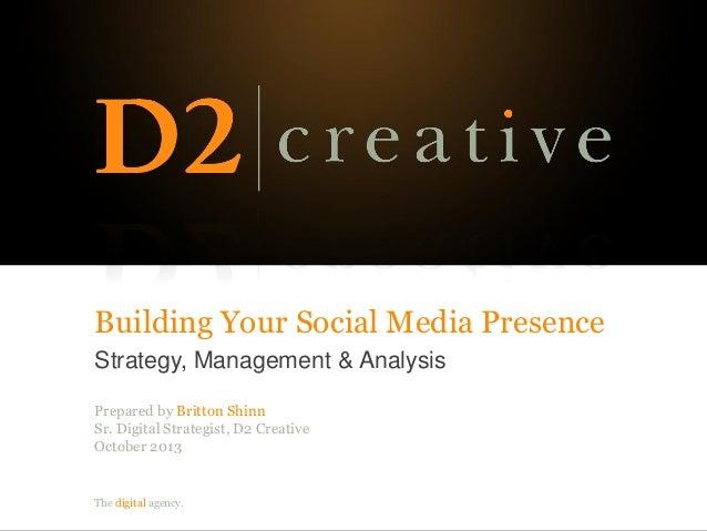 The digital agency. Building Your Social Media Presence Strategy, Management & Analysis Prepared by Britton Shinn Sr. Digi...