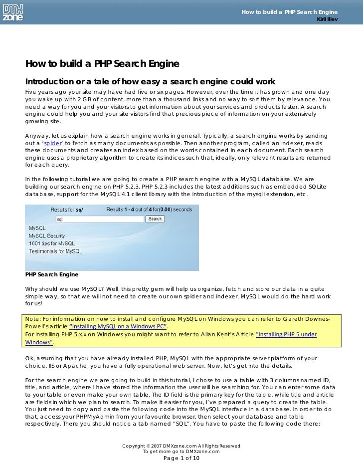 Build PHP Search Engine
