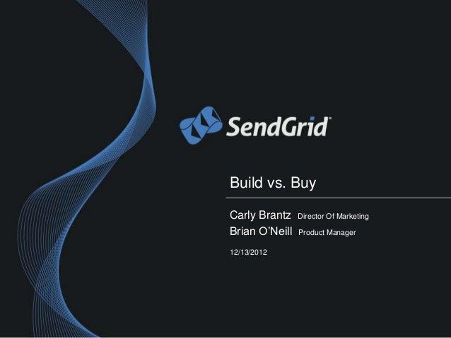 Build vs. BuyCarly Brantz    Director Of MarketingBrian O'Neill   Product Manager12/13/2012