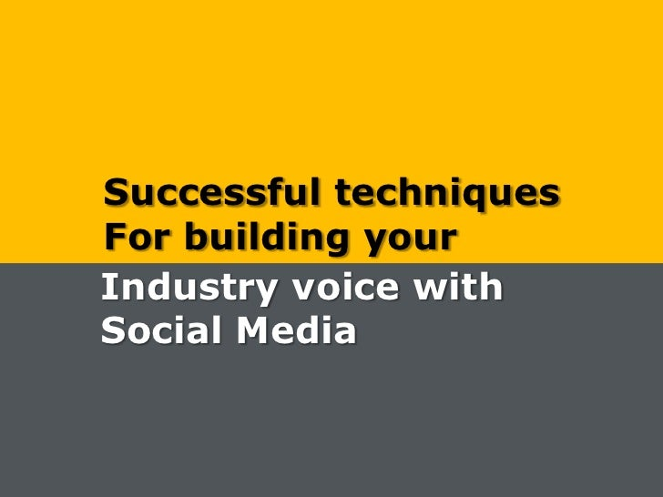 Successful techniques<br />For building your<br />Industry voice with<br />Social Media<br />