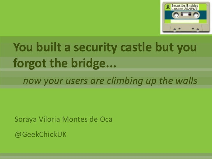 You built a security castle but you forgot the bridge...<br />now your users are climbing up the walls<br />Soraya Viloria...
