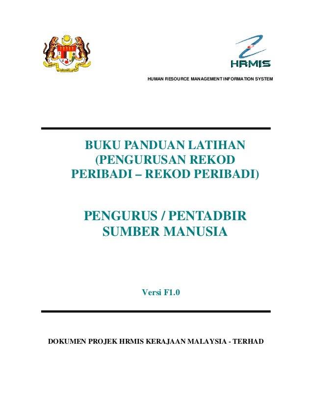 Buku panduan rekod peribadi   pengurus sumber manusia