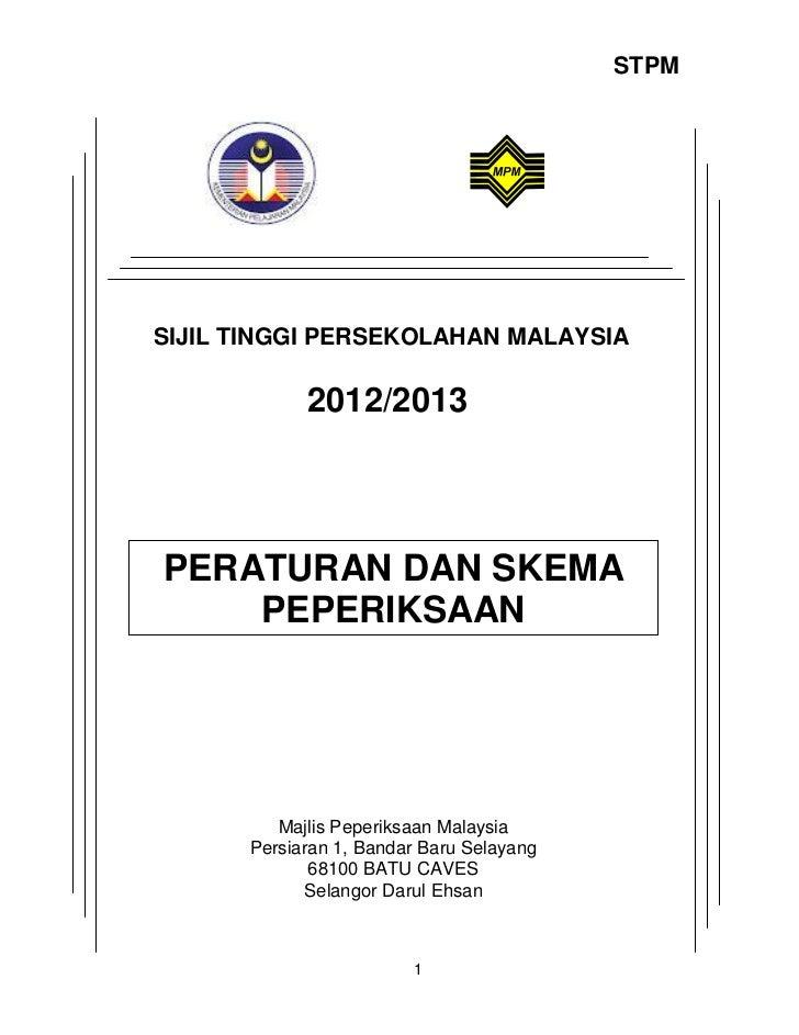 Buku peraturan dan skema peperiksaan baharu stpm 2012 13-portal