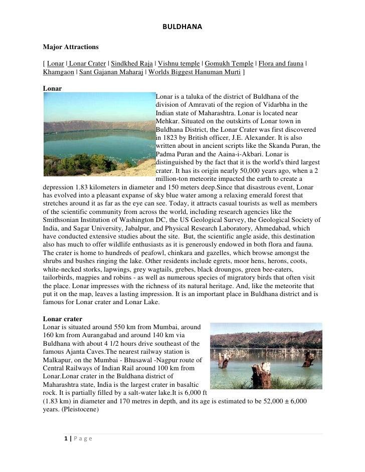BULDHANAMajor Attractions[ Lonar | Lonar Crater | Sindkhed Raja | Vishnu temple | Gomukh Temple | Flora and fauna |Khamgao...