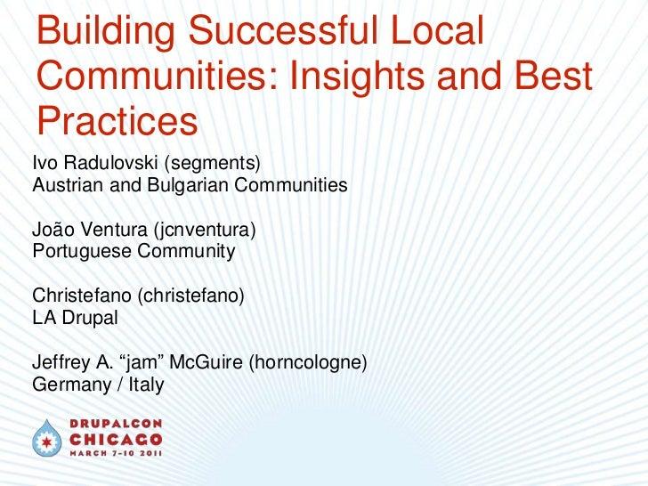 Building Successful Local Communities: Insights and Best Practices<br />Ivo Radulovski (segments)<br />Austrian and Bulgar...