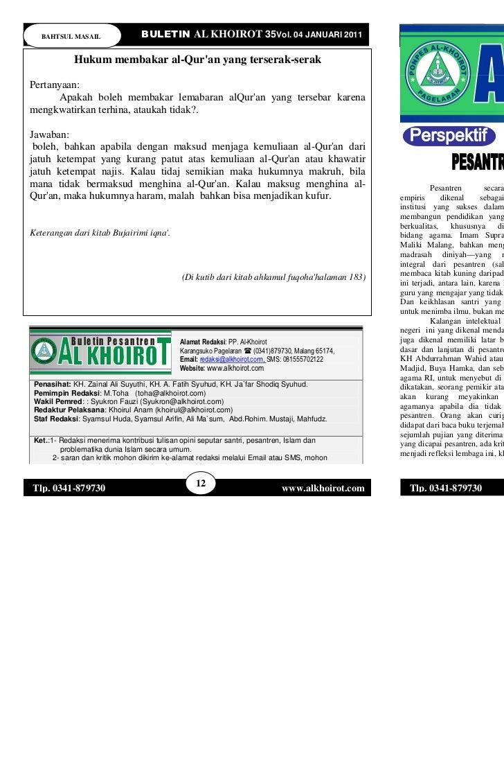 BAHTSUL MASAIL                   BULETIN AL KHOIROT 35Vol. 04 JANUARI 2011                           PERSPEKTIF           ...