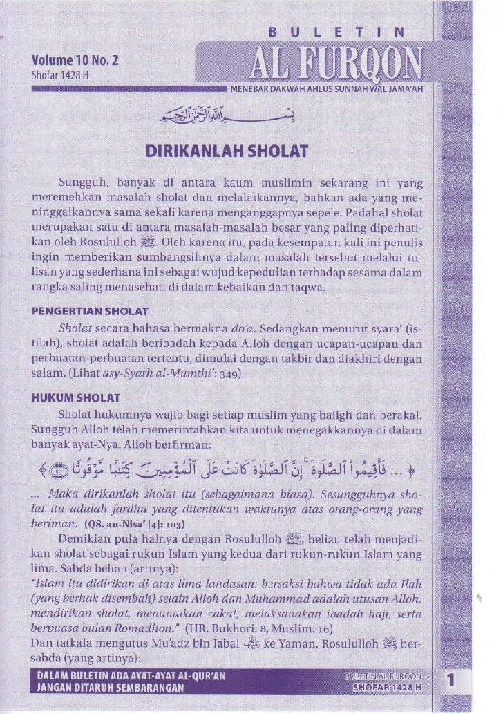 Buletin jumat al furqon tahun 01 volume 10 nomor 02 dirikanlah shalat