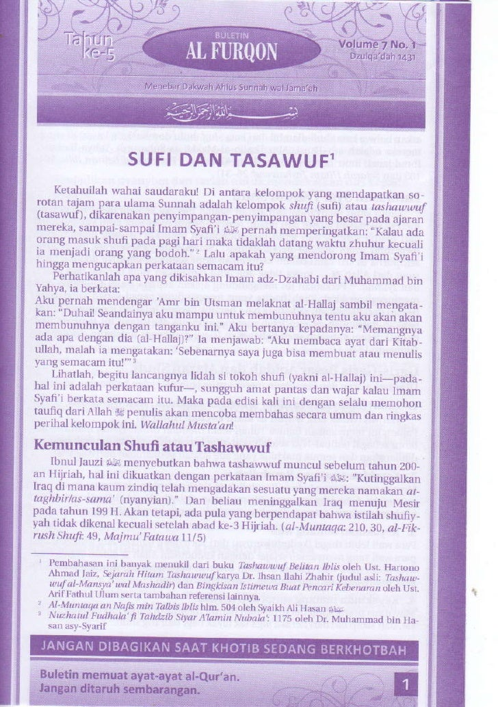 Buletin jumat al furqon tahun 05 volume 07 nomor 01  sufi dan tasawuf bagian 1