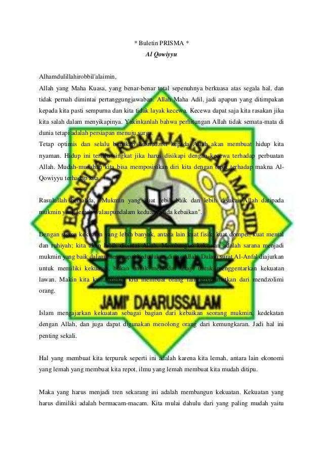 * Buletin PRISMA * Al Qowiyyu Alhamdulillahirobbil'alaimin, Allah yang Maha Kuasa, yang benar-benar total sepenuhnya berku...
