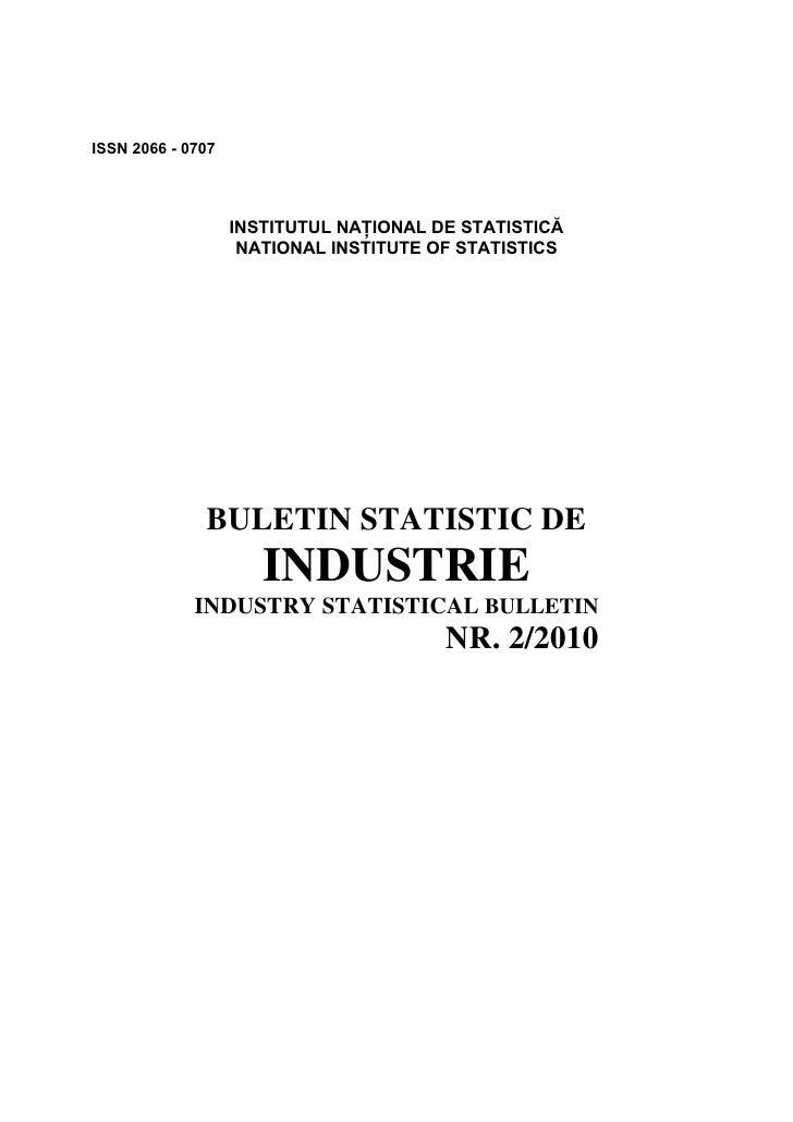 ISSN 2066 - 0707                        INSTITUTUL NAŢIONAL DE STATISTICĂ                     NATIONAL INSTITUTE OF STATIS...
