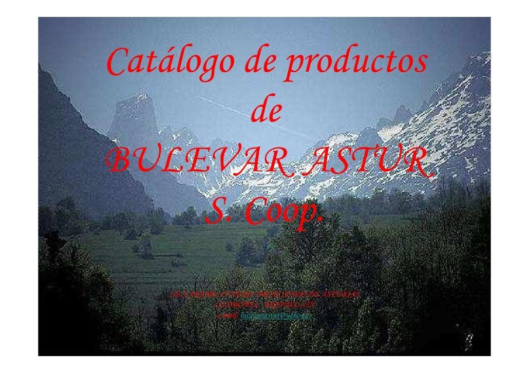 Catálogo de productos          de BULEVAR ASTUR       S. Coop.     I.E.S ARAMO- OVIEDO- PRINCIPADO DE ASTURIAS            ...