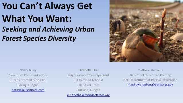 """You Can't Always Get What You Want: Urban Forest Species Diversity"" by Nancy Buley, J. Frank Schmidt & Son Co., Matthew Stephens, NYC Parks & Recreation & Elizabeth Elbel, Friends of Trees"