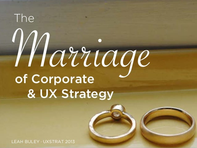of Corporate LEAH BULEY · UXSTRAT 2013 Marriage The & UX Strategy