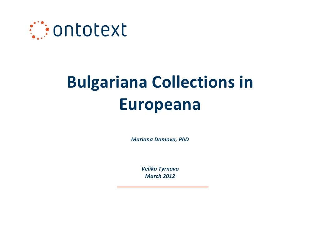 Bulgariana collectionsineuropeana 19032012