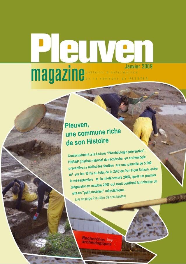 b u l l e t i n d ' i n f o r m a t i o n d e l a c o m m u n e d e P L E U V E Nmagazine Janvier 2009 Conformément à la L...