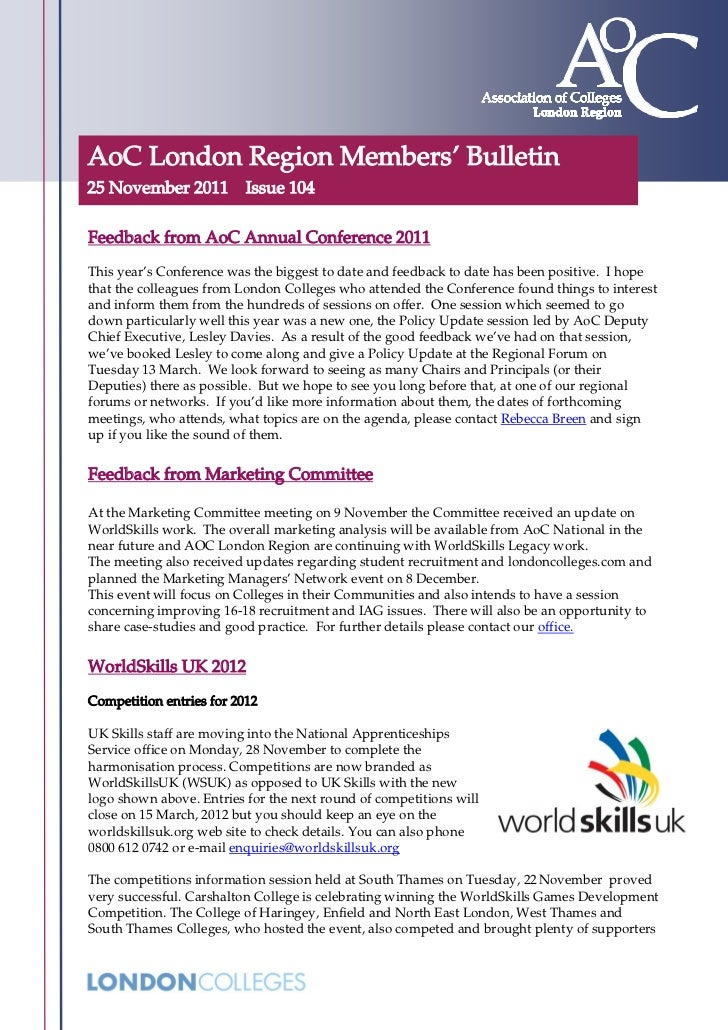 AoC London Region Members' Bulletin25 November 2011          Issue 104Feedback from AoC Annual Conference 2011This year's ...