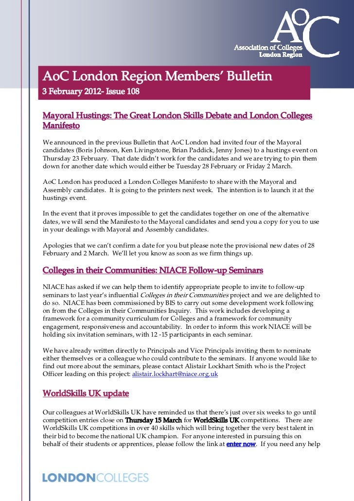 AoC London Region Members' Bulletin3 February 2012- Issue 108Mayoral Hustings: The Great London Skills Debate and London C...