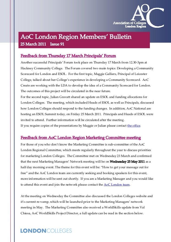 AoC London Region Members' Bulletin 91