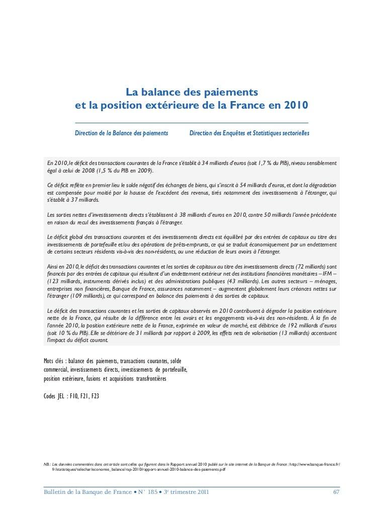 La balance des paiements                  et la position extérieure de la France en 2010                  Direction de la ...