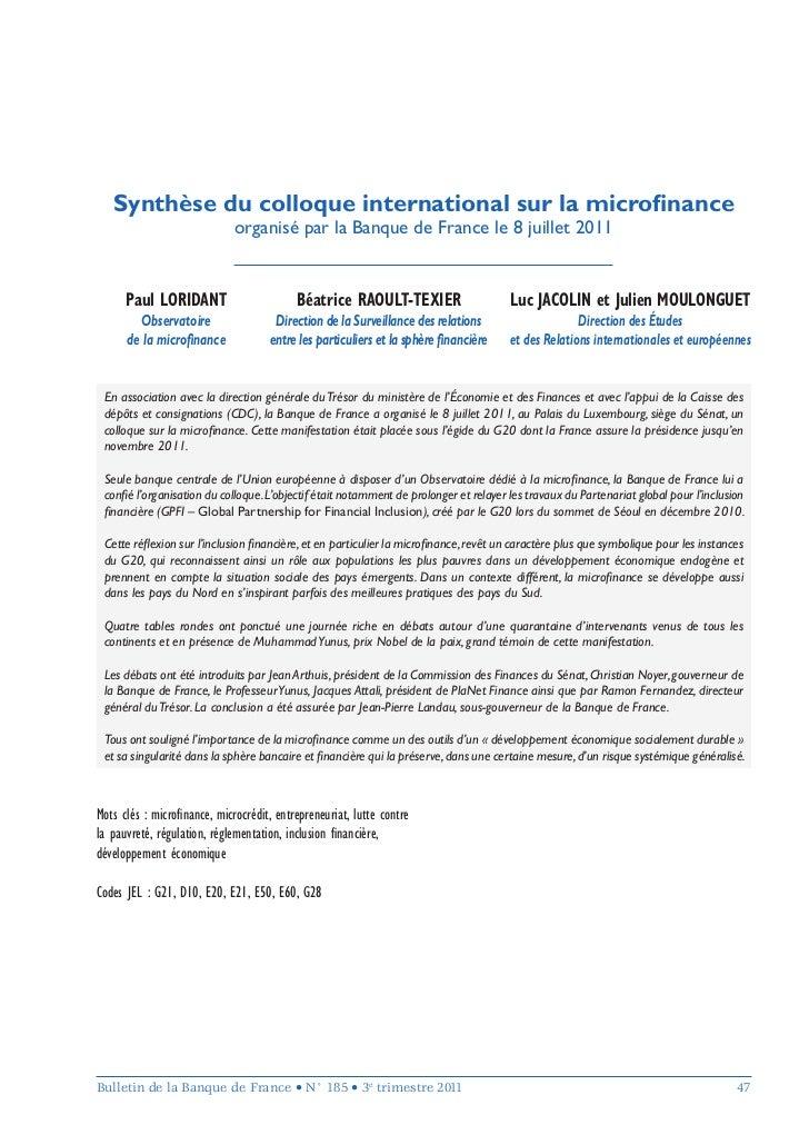 Synthèse du colloque international sur la microfinance                             organisé par la Banque de France le 8 ju...