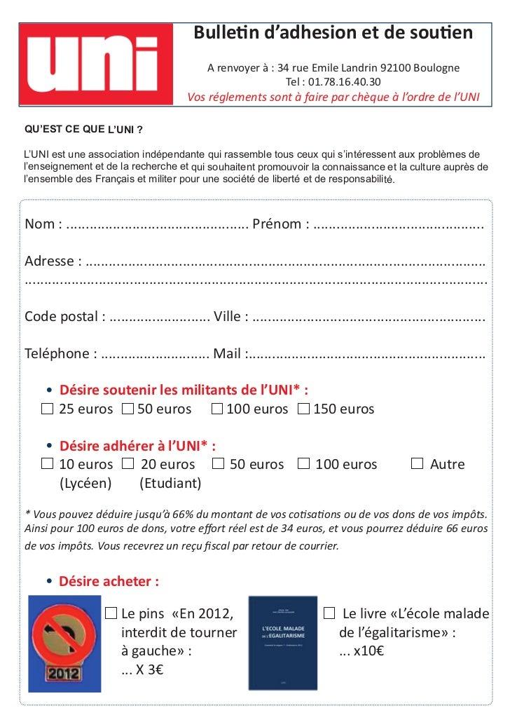 Bulletin d'adhesion et de soutien                                              A renvoyer à : 34rue Emile Landrin 92100 B...