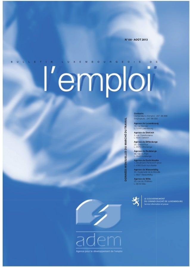 DONNÉESMENSUELLESDUMARCHÉDUTRAVAIL N° 08 - AOÛT 2013 Contacts Demandeurs d'emploi : 247 88 888 Employeurs : 247 88 000 Age...
