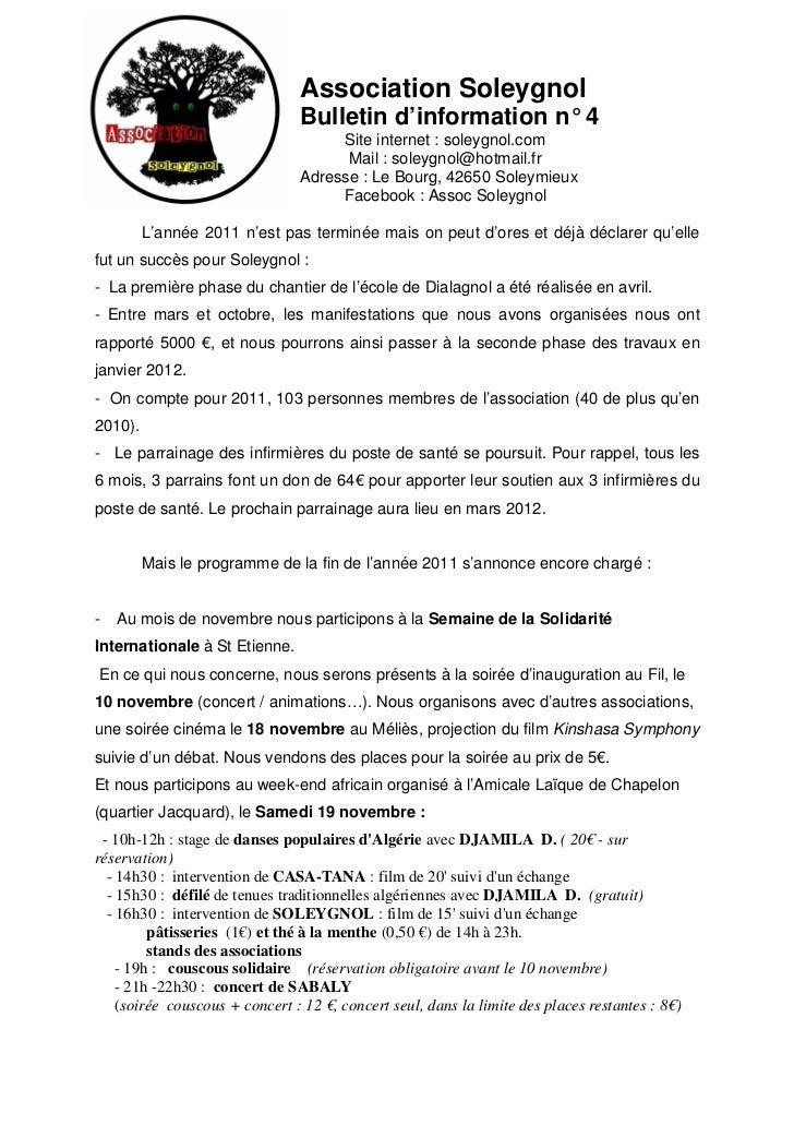 Association Soleygnol                                Bulletin d'information n° 4                                     Site ...