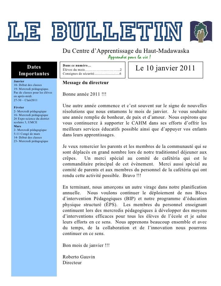 """Le """"Bulletin du CAHM"""" de janvier2011"""