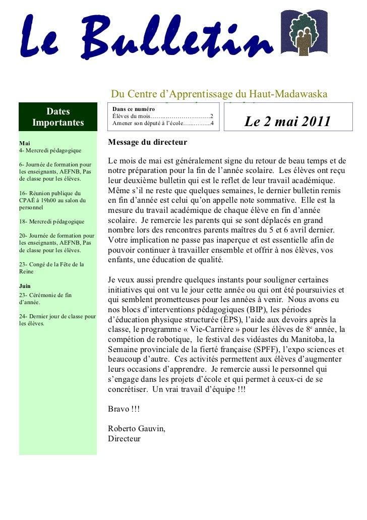 Le Bulletin                                   Du Centre d'Apprentissage du Haut-Madawaska                                 ...