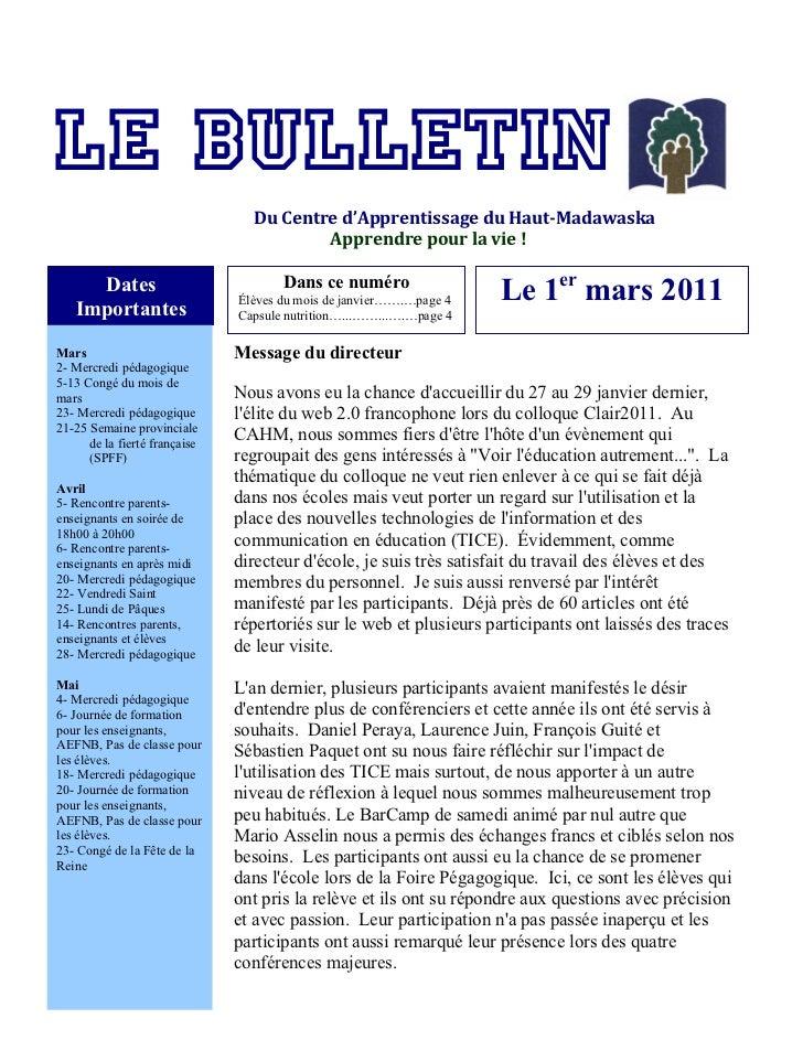 """Le """"Bulletin du Centre d'apprentissage du Haut-Madawaska"""" du mois de mars 2011"""