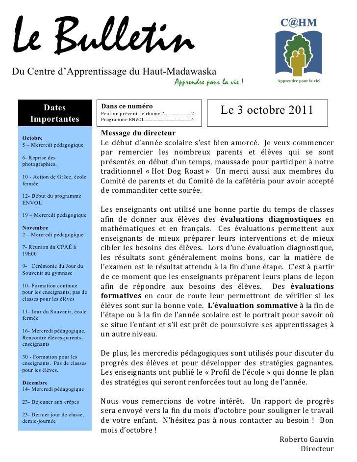 Le Bulletin du CAHM d'octobre 2011