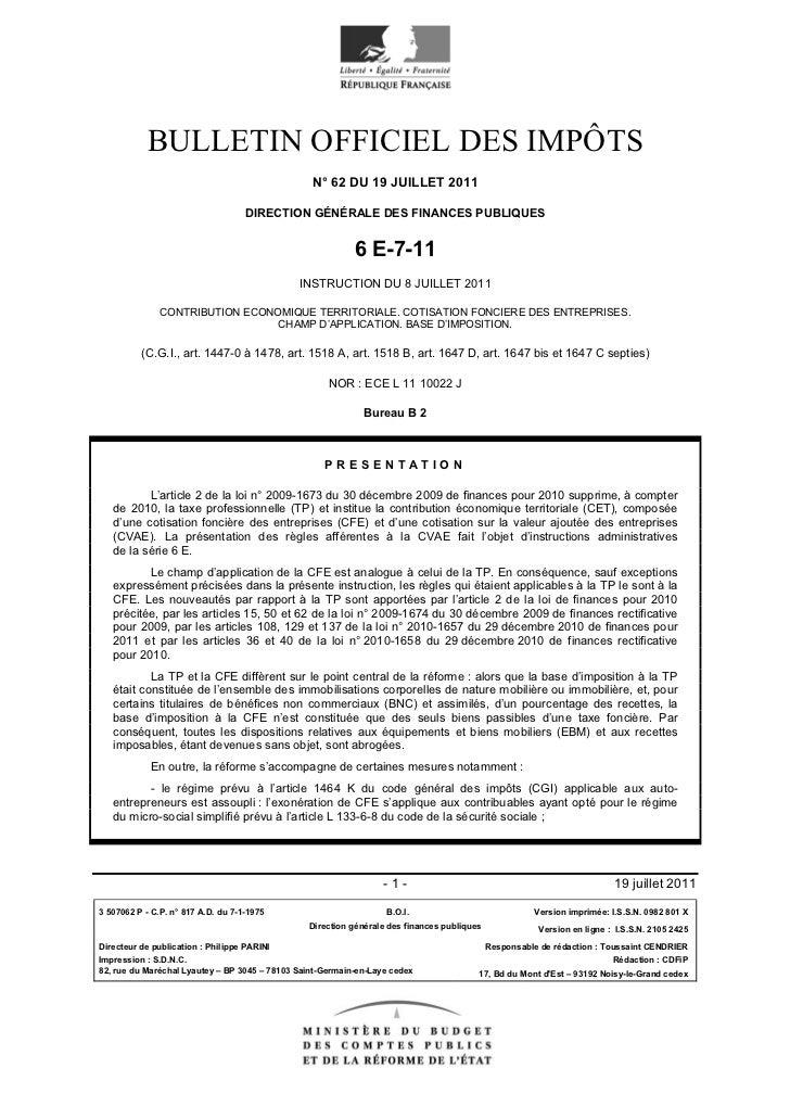 BULLETIN OFFICIEL DES IMPÔTS                                                 N° 62 DU 19 JUILLET 2011                     ...