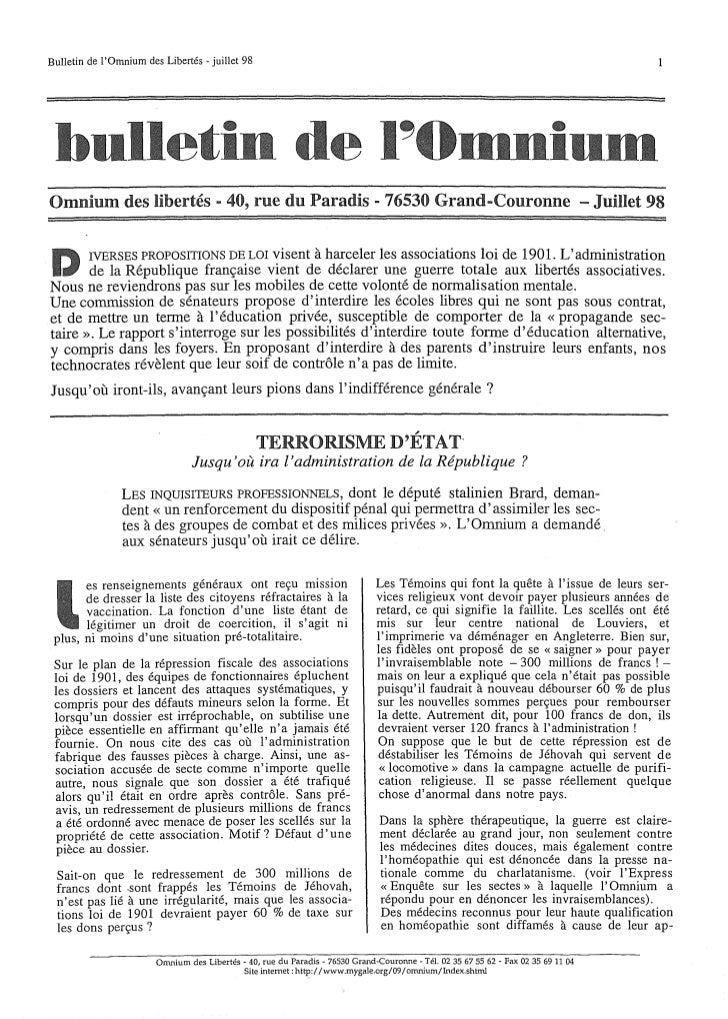 Bulletin de lOmnium des Libertés - juillet 98 bulletin de                                                                 ...