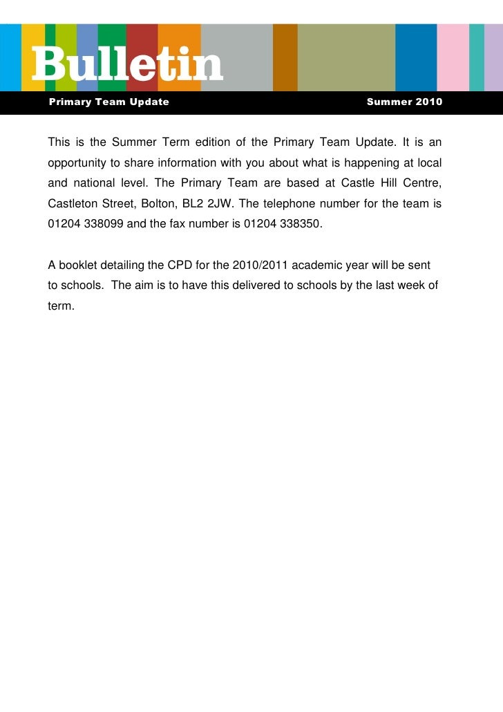 Primary Team Update                                           Summer 2010    This is the Summer Term edition of the Primar...