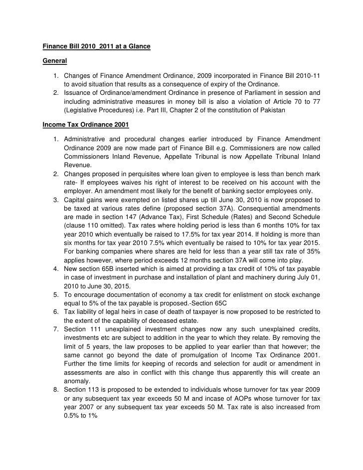 Finance Bill 2010_2011 at a Glance<br />General <br /><ul><li>Changes of Finance Amendment Ordinance, 2009 incorporated in...