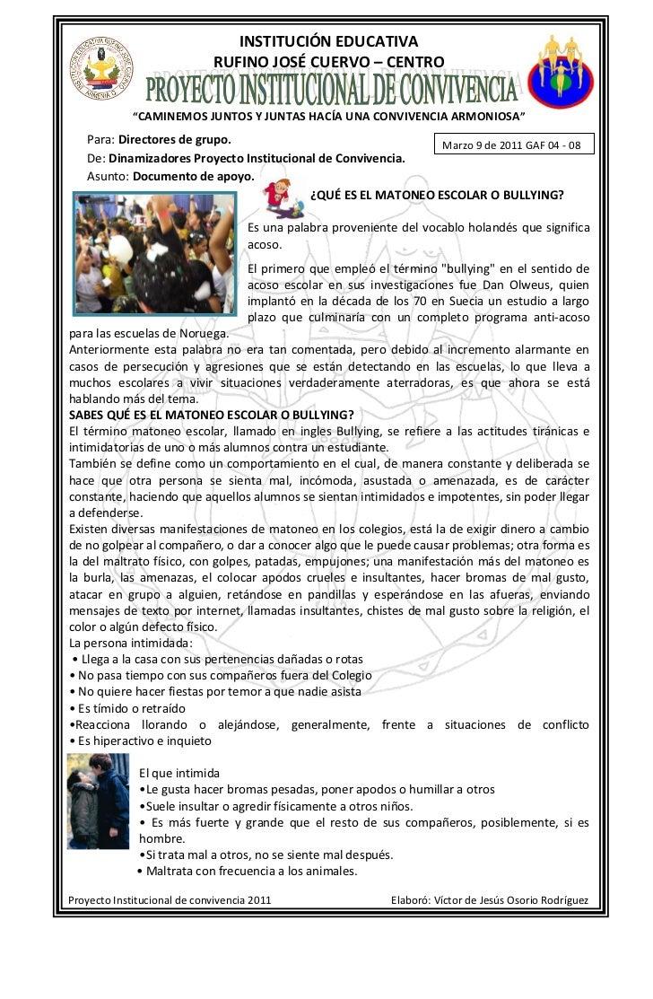"""INSTITUCIÓN EDUCATIVA                             RUFINO JOSÉ CUERVO – CENTRO             """"CAMINEMOS JUNTOS Y JUNTAS HACÍA..."""